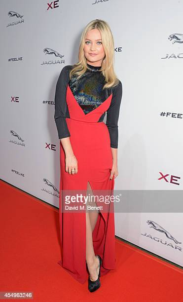 Laura Whitmore attends as a guest of Jaguar at the global reveal of the new XE in London at Earls Court on September 8 2014 in London England
