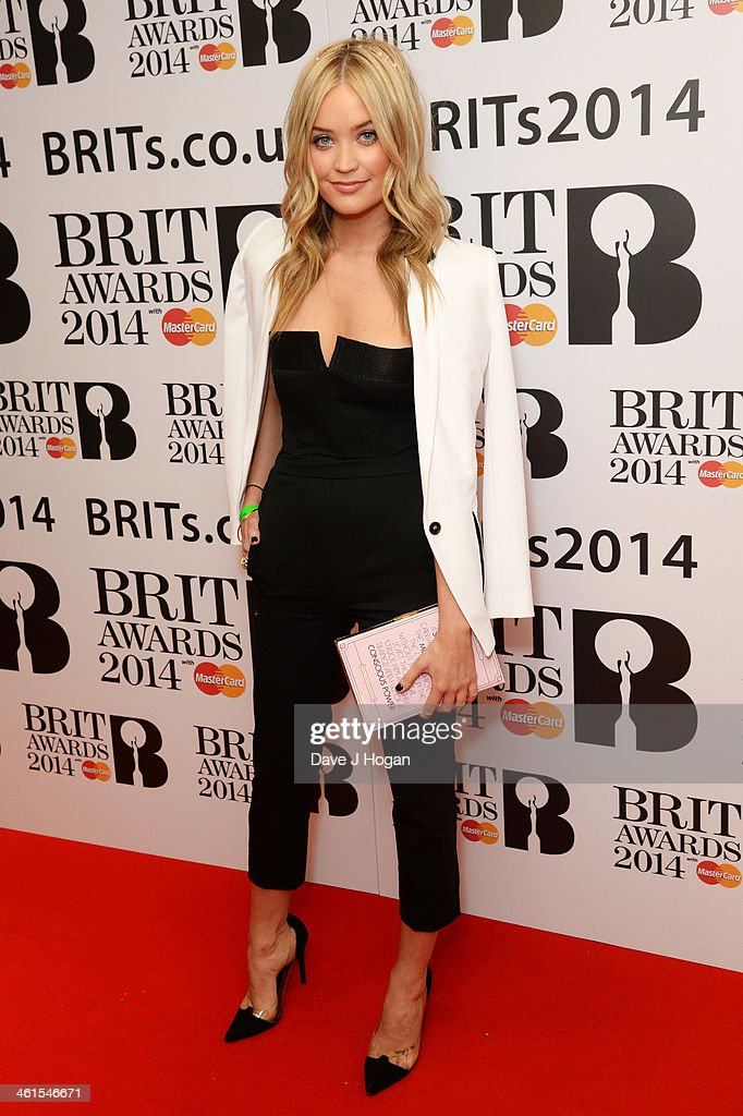 Laura Whitmore attends the 2014 BRIT Awards nominations at ITV Studios on January 9, 2014 in London, England.