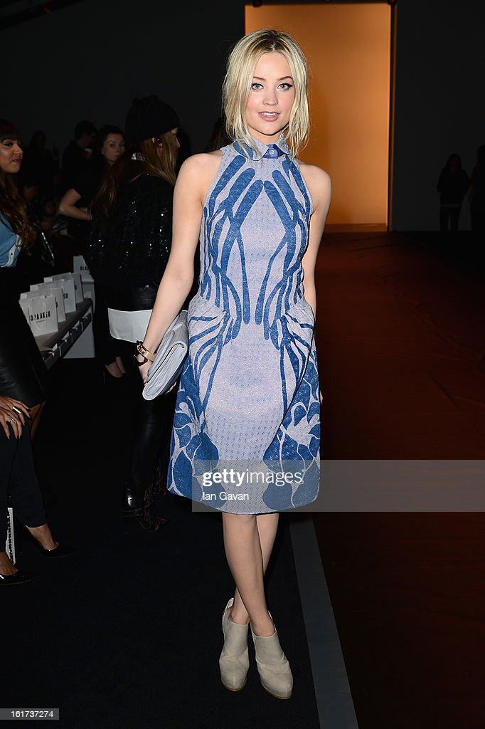 Laura Whitmore attends the Bora Aksu show during London Fashion Week Fall/Winter 2013/14 at Somerset House on February 15, 2013 in London, England.