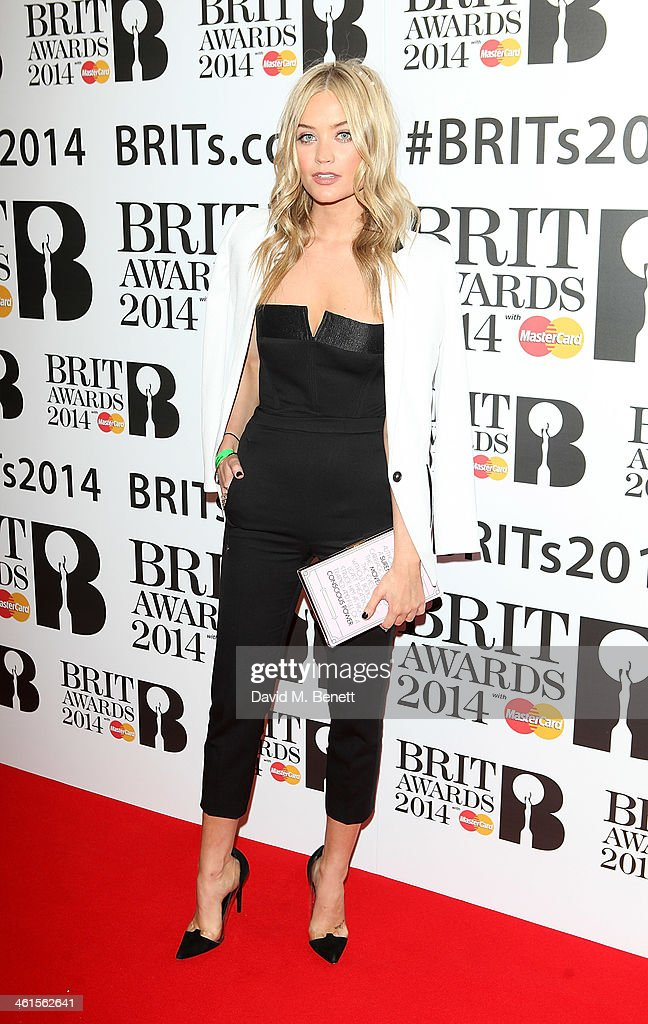<a gi-track='captionPersonalityLinkClicked' href=/galleries/search?phrase=Laura+Whitmore&family=editorial&specificpeople=5599316 ng-click='$event.stopPropagation()'>Laura Whitmore</a> attends the BRIT Awards nominations on January 9, 2014 in London, England.