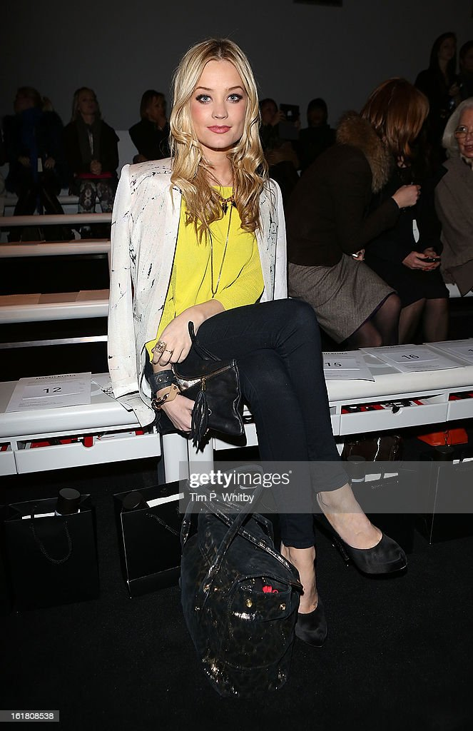 Laura Whitmore attends the David Koma show during London Fashion Week Fall/Winter 2013/14 at Somerset House on February 16, 2013 in London, England.