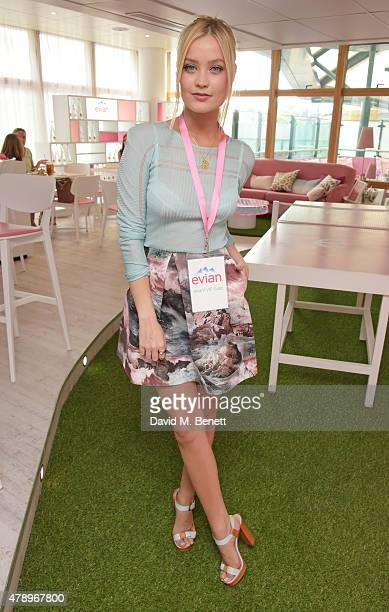 Laura Whitmore attends the evian Live Young suite on the opening day of Wimbledon at the All England Lawn Tennis and Croquet Club on June 29 2015 in...