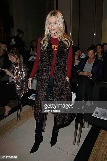 Laura Whitmore attends the Felder Felder Show during London Fashion Week Autumn/Winter 2016/17 at Freemasons' Hall on February 19 2016 in London...
