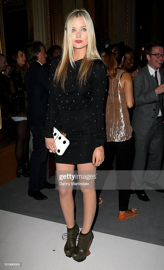 Laura Whitmore attends the front row for the PPQ show on day one of London Fashion Week Spring/Summer 2013, at Goldsmiths Hall on September 14, 2012 in London, England.