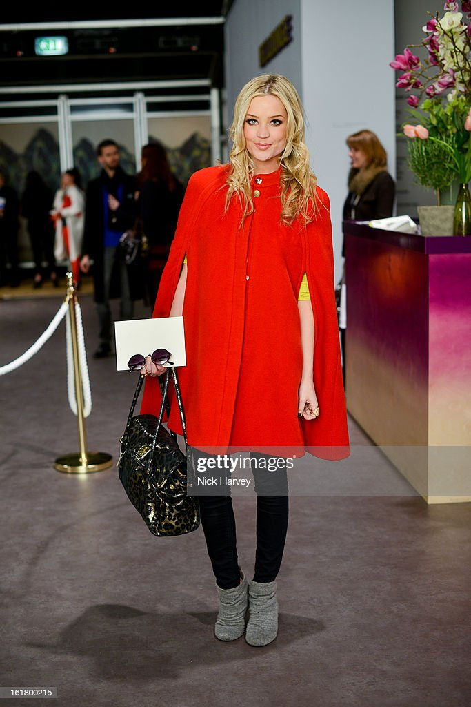 Laura Whitmore attends the Issa London show during London Fashion Week Fall/Winter 2013/14 at Somerset House on February 16, 2013 in London, England.