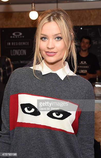 Laura Whitmore attends the launch of OAKLEY IN RESIDENCE LONDON a popup cycling destination and hangout for creative collaboration on June 3 2015 in...