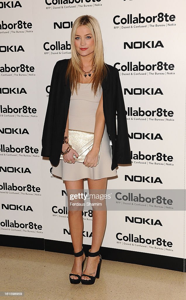 Laura Whitmore attends the premiere of Rankin's Collabor8te connected by NOKIA at Regent Street Cinema on February 12, 2013 in London, England.