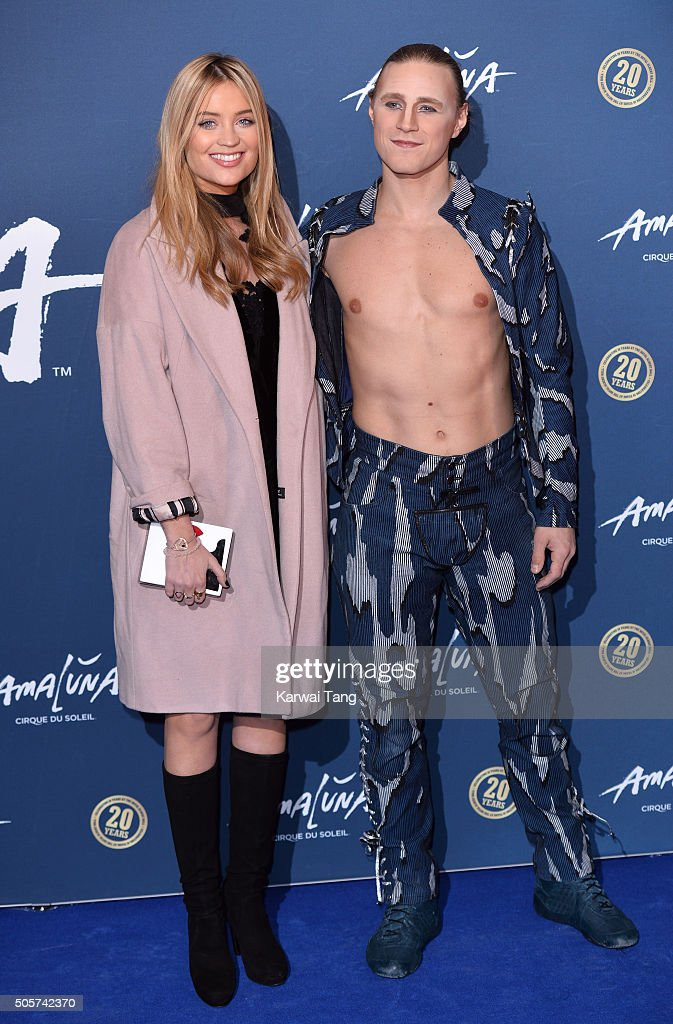 Laura Whitmore (L) attends the Red Carpet arrivals for Cirque Du Soleil Amaluna at Royal Albert Hall on January 19, 2016 in London, England.
