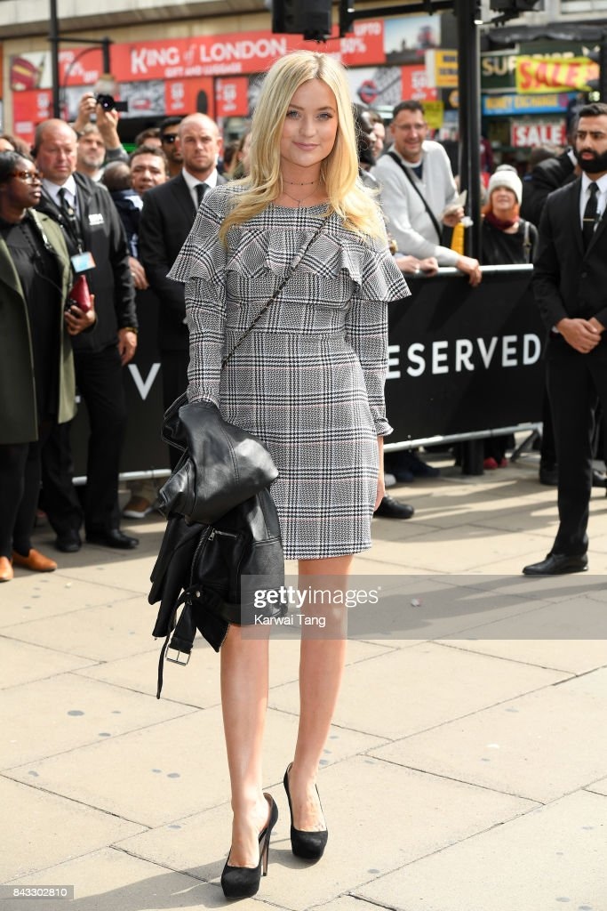 Laura Whitmore attends the 'RESERVED' opening event photocall in Oxford Street on September 6, 2017 in London, England.