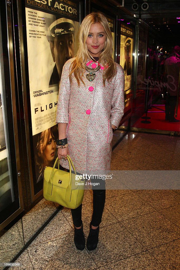 Laura Whitmore attends the UK premiere of 'Flight' at The Empire Leicester Square on January 17, 2013 in London, England.
