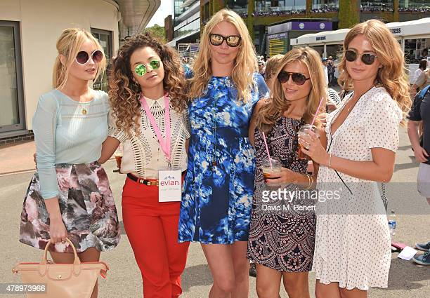 Laura Whitmore Ella Eyre Jodie Kidd #wimblewatch guest Zoe Hardman and Millie Mackintosh attend the evian Live Young suite on the opening day of...