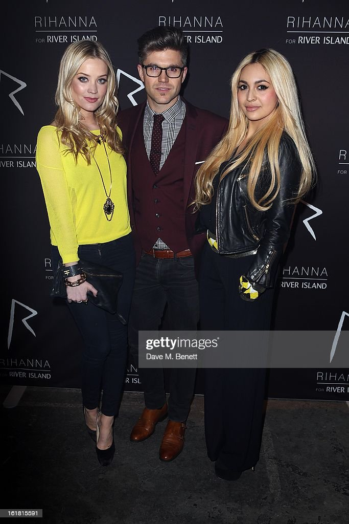 <a gi-track='captionPersonalityLinkClicked' href=/galleries/search?phrase=Laura+Whitmore&family=editorial&specificpeople=5599316 ng-click='$event.stopPropagation()'>Laura Whitmore</a>, Guest and <a gi-track='captionPersonalityLinkClicked' href=/galleries/search?phrase=Zara+Martin&family=editorial&specificpeople=6550505 ng-click='$event.stopPropagation()'>Zara Martin</a> arrive for the Rihanna for River Island fashion show during London Fashion Week Fall/Winter 2013/2014 at the Old Sorting Office on February 16, 2013 in London, England.
