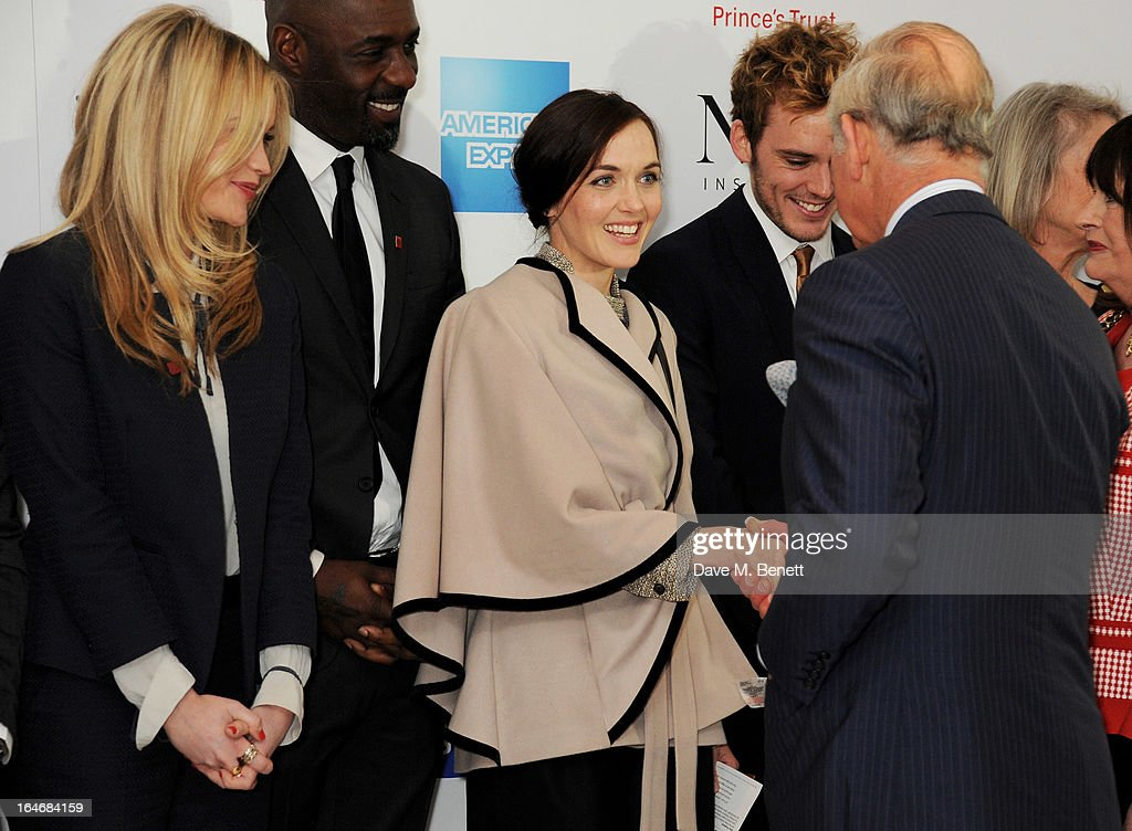 Laura Whitmore, Idris Elba, Victoria Pendleton, Sam Claflin and HRH Prince Charles, Prince of Wales attend The Prince's Trust & Samsung Celebrate Success Awards at Odeon Leicester Square on March 26, 2013 in London, England.