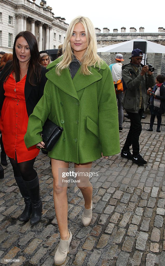 Laura Whitmore is sighted during London Fashion Week on September 14, 2013 in London, England.