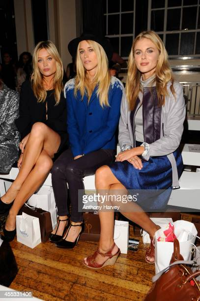 Laura Whitmore Lady Mary Charteris and Donna Air attend the Gyunel show during London Fashion Week Spring Summer 2015 at Victoria House on September...