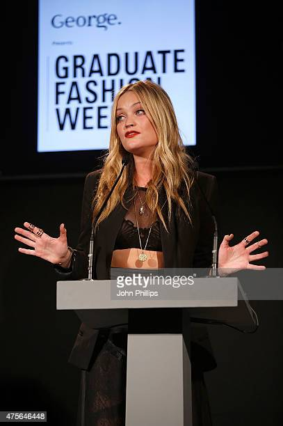 Laura Whitmore on day 4 of Graduate Fashion Week at The Old Truman Brewery on June 2 2015 in London England