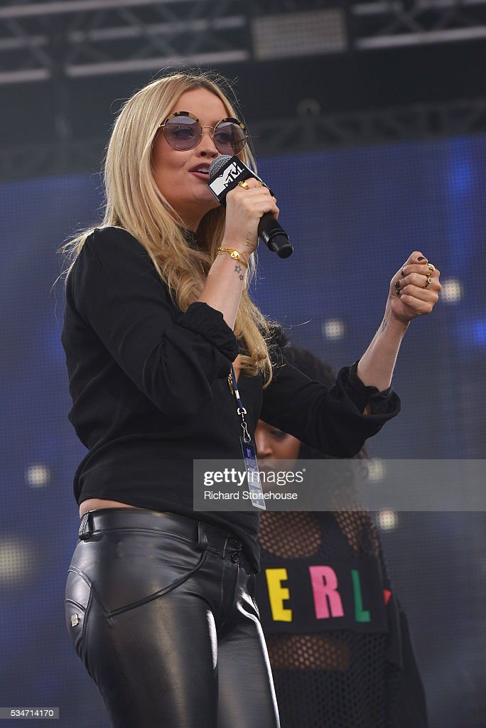 <a gi-track='captionPersonalityLinkClicked' href=/galleries/search?phrase=Laura+Whitmore&family=editorial&specificpeople=5599316 ng-click='$event.stopPropagation()'>Laura Whitmore</a> on stage during 'MTV Crashes Coventry' at Ricoh Arena on May 27, 2016 in Coventry, England.