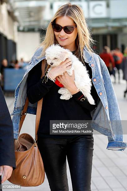 Laura Whitmore seen leaving the BBC Radio 1 Studios on April 23 2015 in London England