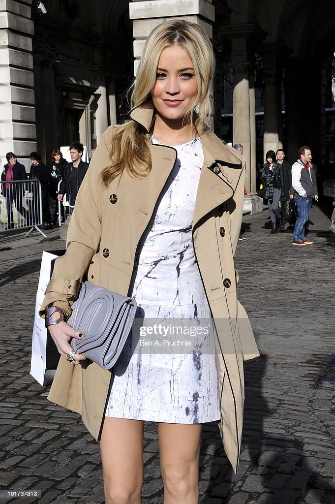 Laura Whitmore sighted arriving at Somerset House during London Fashion Week F/W 2013 on February 15, 2013 in London, England.