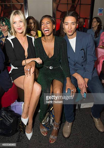Laura Whitmore Tolula Adeyemi and Natt Weller attend the PPQ show during London Fashion Week Spring Summer 2015 on September 12 2014 in London England