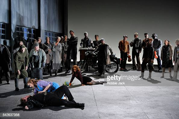 Laura Wilde as Jenufa and Nicky Spence as Steva with artists of the company in English National Opera's production of Leos Janacek's Jenufa directed...