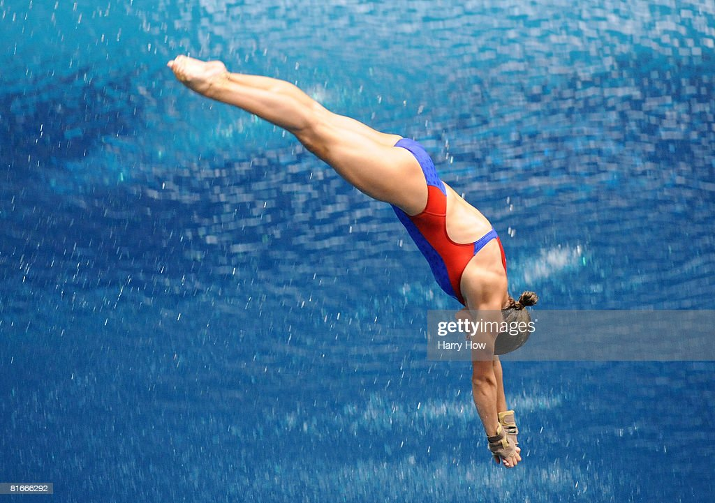 Laura Wilkinson competes in the senior 10m platform final on her way to a first place finish and a place on the Olympic team during the 2008 USA...