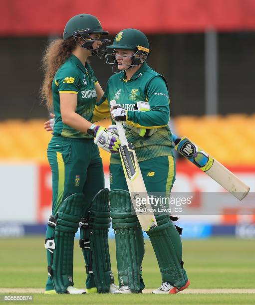 Laura Wolvaardt and Lizelle Lee of South Africa celebrate hitting the winning runs during the ICC Women's World Cup 2017 match between South Africa...