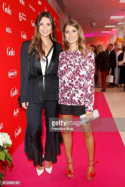 Laura Wontorra and Cathy Hummels attend the Gala Fashion Brunch during the MercedesBenz Fashion Week Berlin Spring/Summer 2018 at Ellington Hotel on...