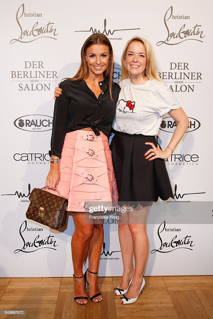 Laura Wortorra and Marina Hoermanseder attend the presentation of the Rauch Happy Day Limited Edition designed by Marina Hoermanseder ahead of the Marina Hoermanseder defilee during the Der Berliner Mode Salon Spring/Summer 2017 at Kronprinzenpalais on June 30, 2016 in Berlin, Germany.