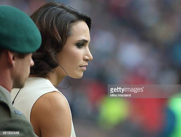 Laura Wright attends at the annual NFL International fixture as the New York Jets compete against the Miami Dolphins at Wembley Stadium on October 4...
