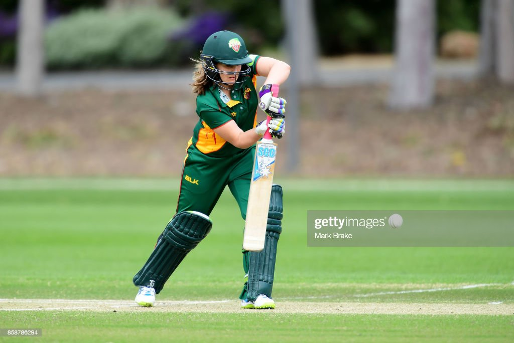 Laura Wright during the WNCL match between Tasmania and Western Australia at Adelaide Oval No.2 on October 7, 2017 in Adelaide, Australia.