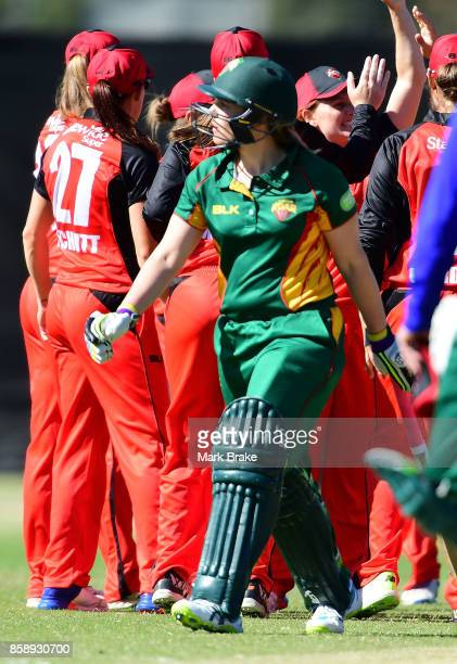 Laura Wright out bowled by Sophie Devine during the WNCL match between South Australia and Tasmania at Adelaide Oval No2 on October 8 2017 in...