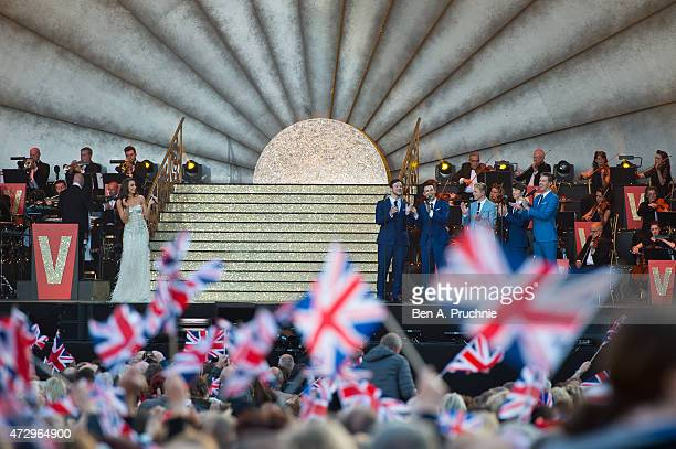 Laura Wright performs during a concert on the 70th anniversary of VE Day at Horse Guards Parade on May 9 2015 in London England
