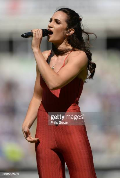 Laura Wright sings as the players walk on to the field before the first day of the 1st Investec Test match between England and the West Indies at...