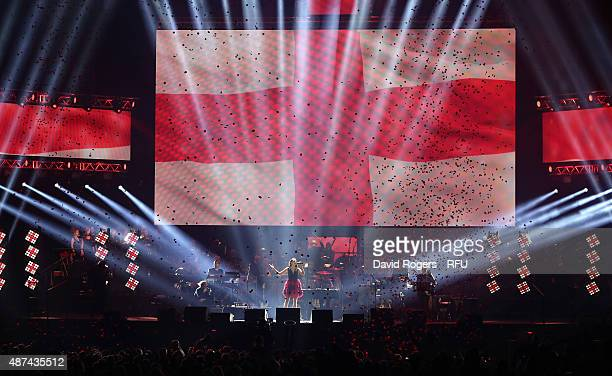 Laura Wright sings Jerusalem during the Wear The Rose Live official England send off event hosted by 02 at The O2 Arena on September 9 2015 in London...