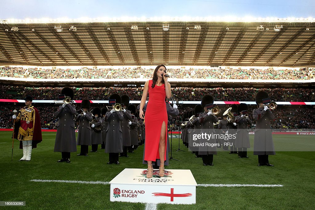 Laura Wright sings the national anthem during the RBS Six Nations match between England and Scotland at Twickenham Stadium on February 2, 2013 in London, England.