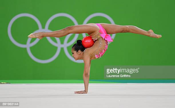 Laura Zeng of USA performs during the Rhythmic Gymnastics Individual AllAround on August 20 2016 at Rio Olympic Arena in Rio de Janeiro Brazil