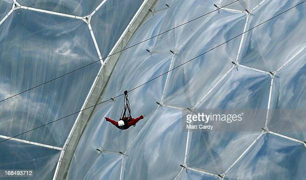 Lauraine Maddox tries the SkyWire at The Eden Project on May 10 2013 in St Austell England The 660 metre zip wire currently the longest in England...