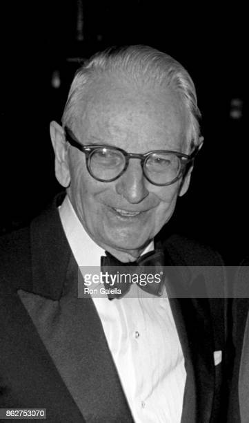 Laurance Rockefeller attends Third Annual Better World Society Awards Dinner on November 28 1988 at the Waldorf Hotel in New York City