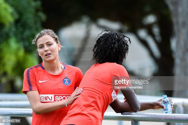 Laure Boulleau and Aminata Diallo of Paris Saint Germain during a training session of Paris Saint Germain at Bougival on July 25 2017 in Paris France