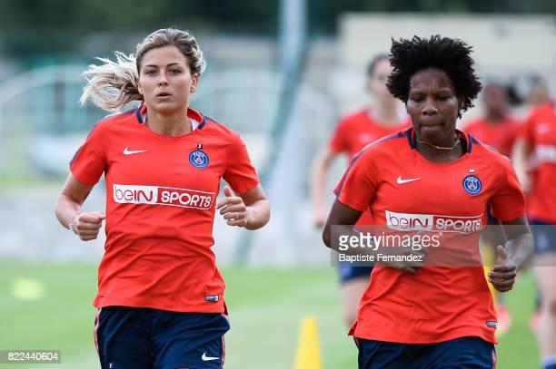 Laure Boulleau and Formiga of Paris Saint Germain during a training session of Paris Saint Germain at Bougival on July 25 2017 in Paris France