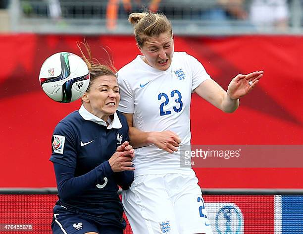 Laure Boulleau of France and Ellen White of England fight for the ball in the first half during the FIFA Women's World Cup 2015 Group F match at...