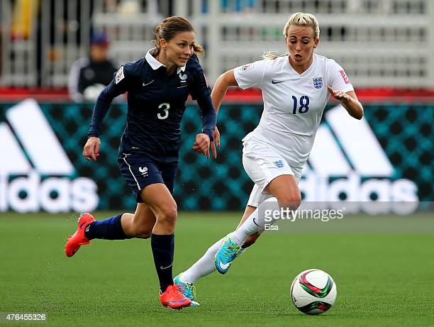 Laure Boulleau of France and Toni Duggan of England go after the ball in the second half during the FIFA Women's World Cup 2015 Group F match at...