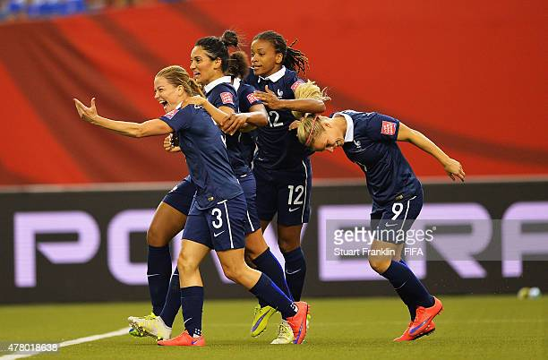 Laure Boulleau of France celebrates scoring her goal during the FIFA Womens's World Cup round of 16 match between France and Korea at Olympic Stadium...