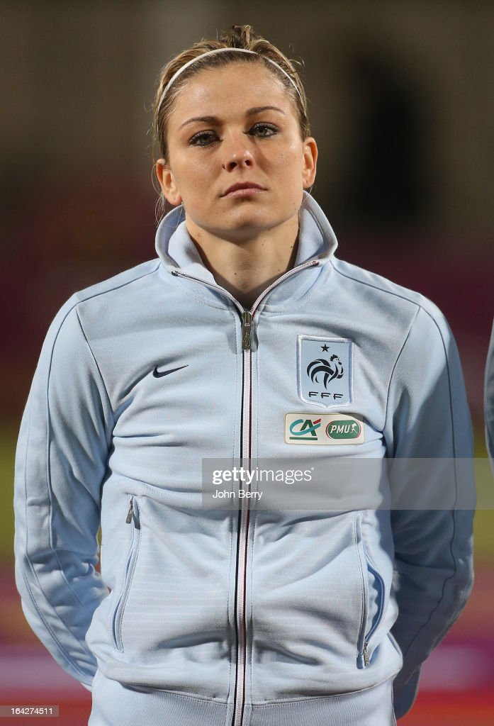 <a gi-track='captionPersonalityLinkClicked' href=/galleries/search?phrase=Laure+Boulleau&family=editorial&specificpeople=7890874 ng-click='$event.stopPropagation()'>Laure Boulleau</a> of France poses prior to the women international friendly match between France and Brazil at the Robert Diochon stadium on March 9, 2013 in Rouen, France.