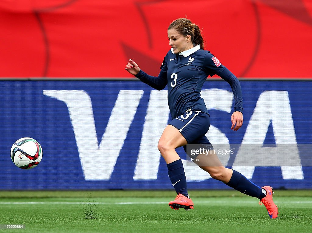 Laure Boulleau #3 of France takes the ball in the first half against England during the FIFA Women's World Cup 2015 Group F match at Moncton Stadium on June 9, 2015 in Moncton, Canada.
