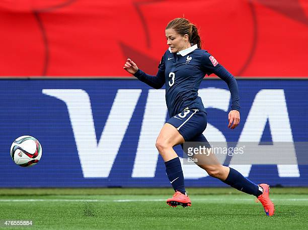 Laure Boulleau of France takes the ball in the first half against England during the FIFA Women's World Cup 2015 Group F match at Moncton Stadium on...