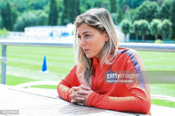 Laure Boulleau of Paris Saint Germain during a training session of Paris Saint Germain at Bougival on July 25 2017 in Paris France
