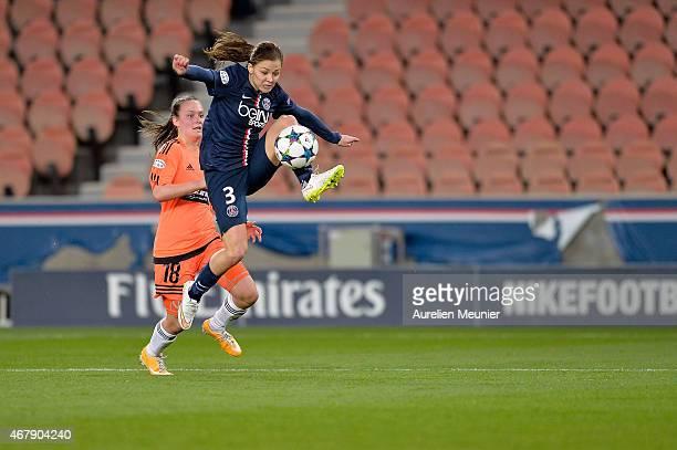Laure Boulleau of Paris SaintGermain in action during the UEFA Woman's Champions League Quarter Final match between Glasgow City and Paris...