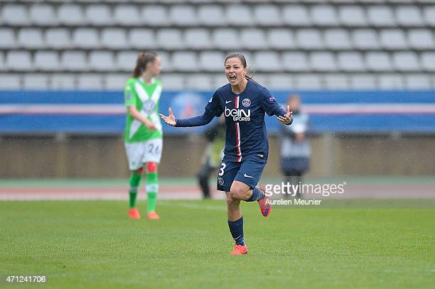 Laure Boulleau of PSG reacts after the first goal during the UEFA Womens Champions League Semifinal game between Paris Saint Germain and VfL...